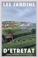 Load image into Gallery viewer, Vintage poster GARDENS OF ETRETAT CLIFFS - Retro poster NORMANDY