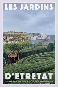 Vintage poster GARDENS OF ETRETAT CLIFFS - Retro poster NORMANDY