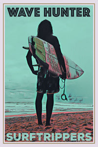 collection rétro de surfeur affiche vague hunter