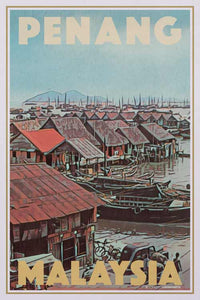 Vintage travel poster  PENANG FISHING VILLAGE - My Retroposter