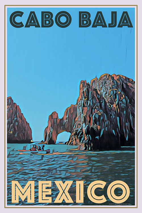 vintage poster of Cabo Baja Mexico