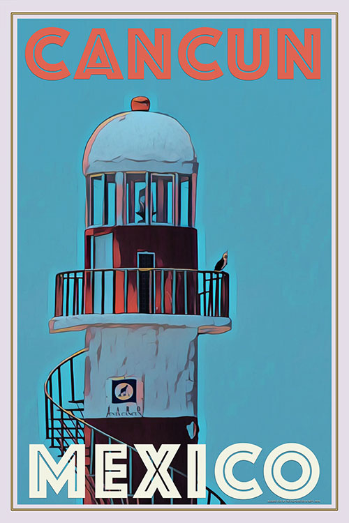 vintage poster of the lighthouse in Cancun Mexico