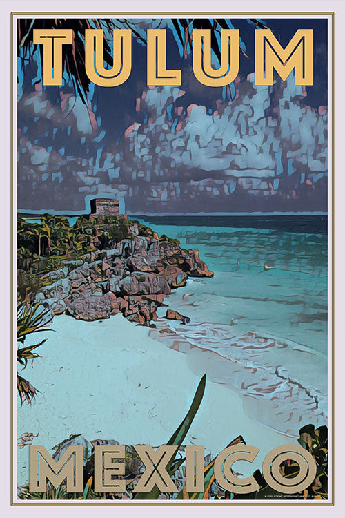 TULUM MEXICO - Vintage travel poster