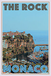 Vintage poster of the rock Monaco