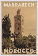 Load image into Gallery viewer, Vintage travel Poster - MARRAKECH MINARET (limited-to-50XL edition) - Affiche retro