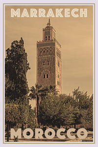 Vintage travel Poster - MARRAKECH MINARET (limited-to-50XL edition) - Affiche retro