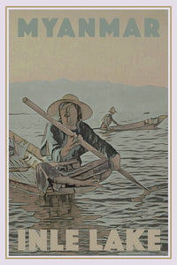 Vintage travel Poster - INLE LAKE MYANMAR - Affiche retro