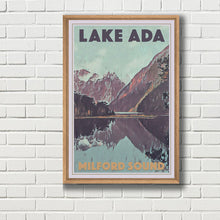 Load image into Gallery viewer, Framed Vintage Poster LAKE ADA MILFORD SOUND - New Zealand poster