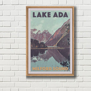 Framed Vintage Poster LAKE ADA MILFORD SOUND - New Zealand poster