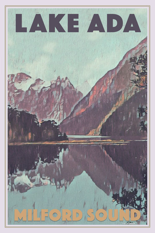 Vintage Poster LAKE ADA MILFORD SOUND - New Zealand poster
