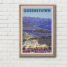 Load image into Gallery viewer, Framed poster of QUEENSTOWN BY NIGHT  - New Zealand Vintage Travel Poster