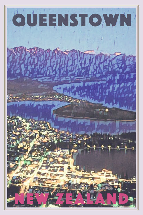 Poster QUEENSTOWN BY NIGHT  - New Zealand Vintage Travel Poster