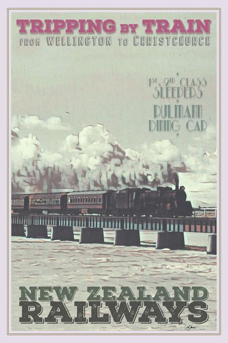Affiche Vintage NEW ZEALAND RAILWAYS