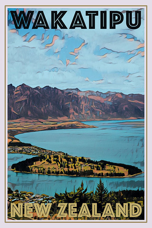 vintage poster of Wakatipu lake New Zealand