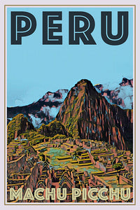 retro poster of Machu Picchu Peru