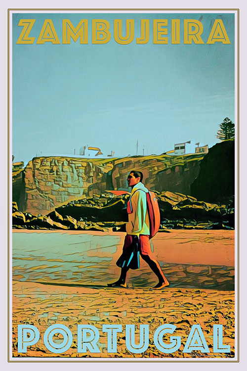 vintage poster of lifeguard on Zambujeira beach Portugal