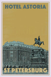 Vintage travel Poster - HOTEL ASTORIA - ST PETERSBURG (limited-to-50XL edition) - Affiche retro
