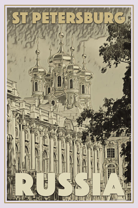 Affiche ancienne de CATHERINE PALACE - ST PETERSBURG - affiche retro
