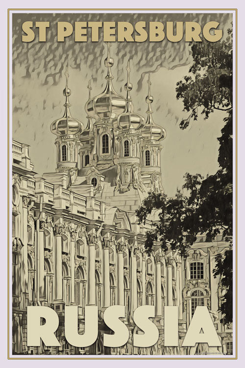 Vintage poster of CATHERINE PALACE - ST PETERSBURG - affiche retro