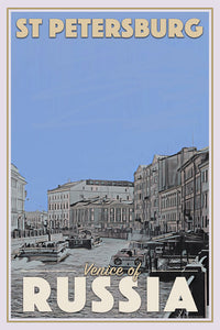 Vintage poster of ST PETERSBURG VENICE OF RUSSIA - affiche retro