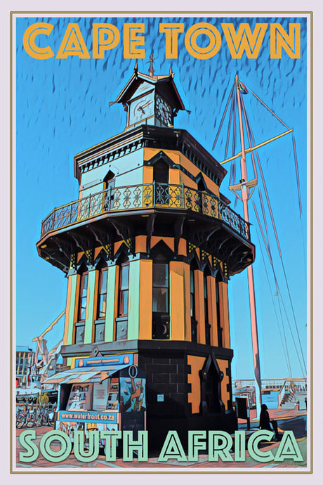 retro poster clock tower cape town south africa