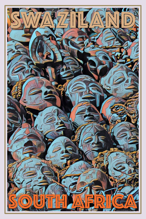 retro poster old masks tribal south africa