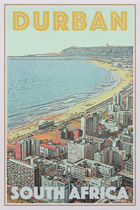 Vintage travel poster  DURBAN Coast - Retro Poster South Africa