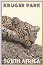 Load image into Gallery viewer, Vintage Travel Poster of Kruger Park Leopard -  South Africa
