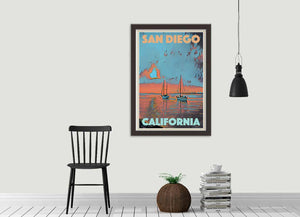 SUNSET BOATS SAN DIEGO - Vintage travel poster