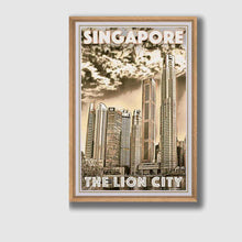 Load image into Gallery viewer, Framed poster Singapore The Lion City - Retro poster Singapore
