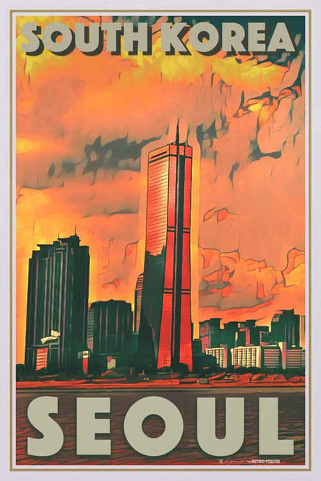 Vintage Travel poster Seoul 63 Building - Retro poster South korea