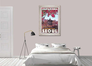 Vintage Art Print Seoul Gyeongbok Palace - Retro poster South Korea