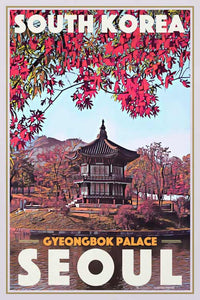 Vintage Travel poster Seoul Gyeongbok Palace - Retro poster South Korea