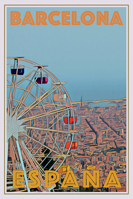 BIG WHEEL BARCELONA  - Vintage travel poster