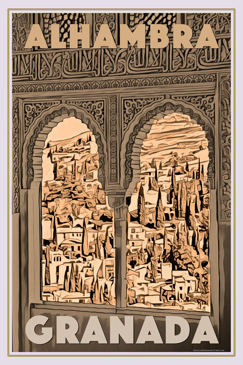 Retro poster - ALHAMBRA WINDOWS - affiche vintage