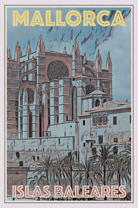 retro vintage poster cathedral mallorca balear