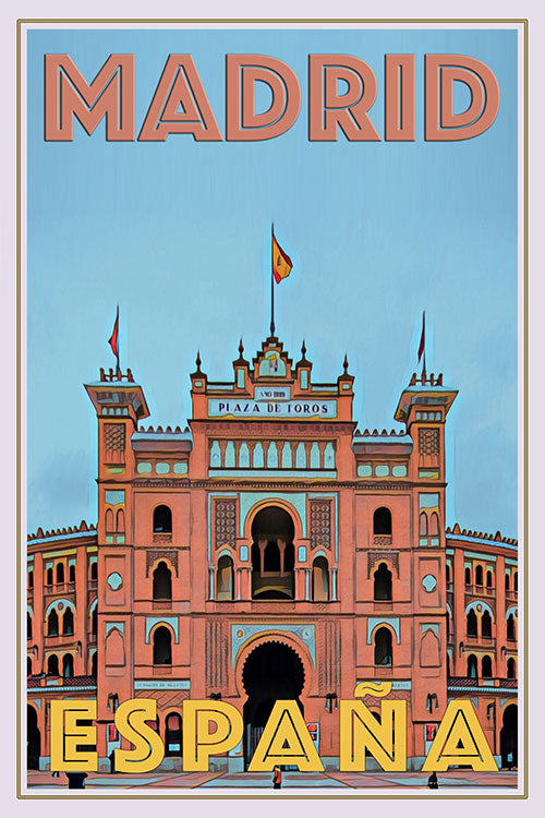 vintage poster of Madrid Bulls arena (placa de toros) Spain