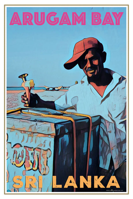 retro poster of ice cream vendor Arugam Bay beach