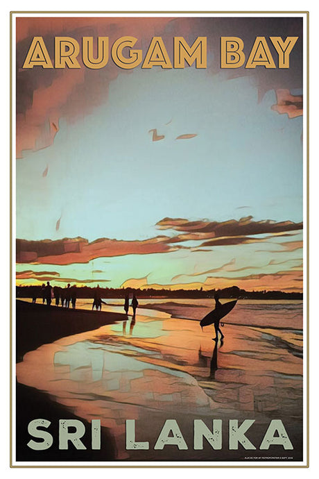 Vintage travel poster Arugam Bay sunset