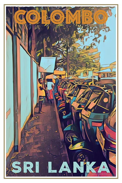 TUK-TUK COLOMBO  - Vintage travel poster