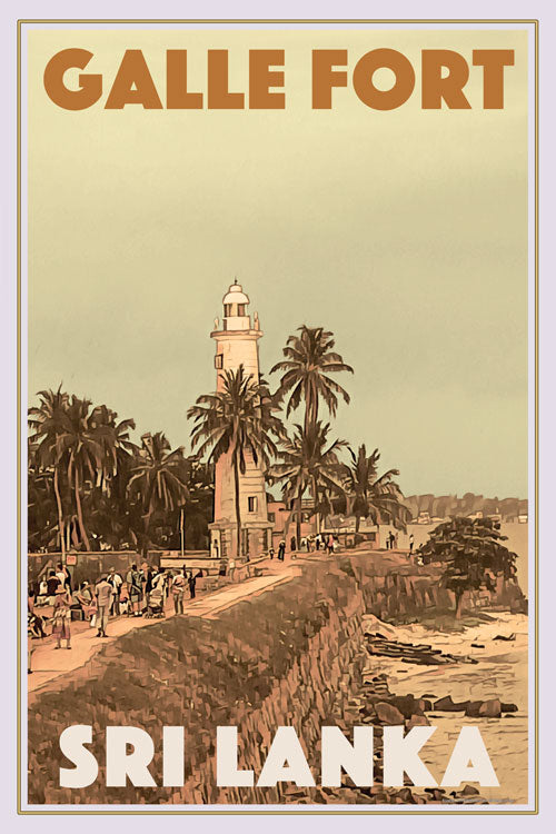 Affiche rétro - GALLE FORT LIGHTHOUSE 2 - affiche vintage