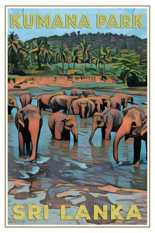 retro poster of elephants Kumana Park Arugam Bay