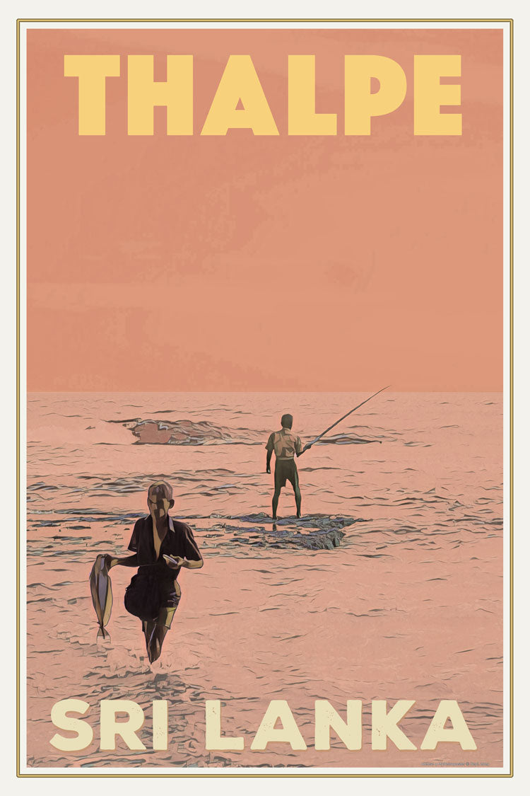 THALPE FISHERMAN - Vintage travel poster - SRI LANKA