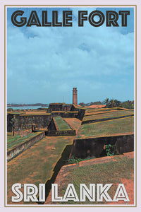 vintage poster old dutch fort galle sri lanka