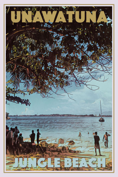 Retro poster - JUNGLE BEACH UNAWATUNA - affiche vintage