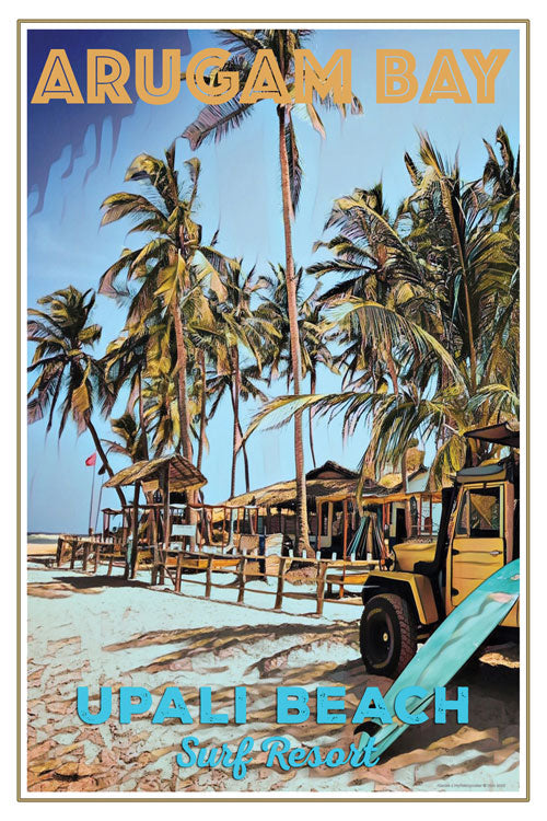 retro poster surf camp arugam bay sri lanka