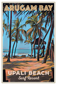 retro poster of lifeguard tower Arugam Bay Sri Lanka