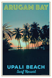 retro poster of sunrise in Arugam Bay - Sri Lanka