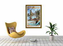 Load image into Gallery viewer, Surf decor with Vintage Travel Poster Upali Jeep