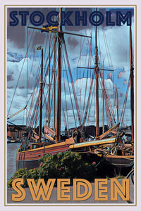retro poster of old boats in Stockholm Sweden